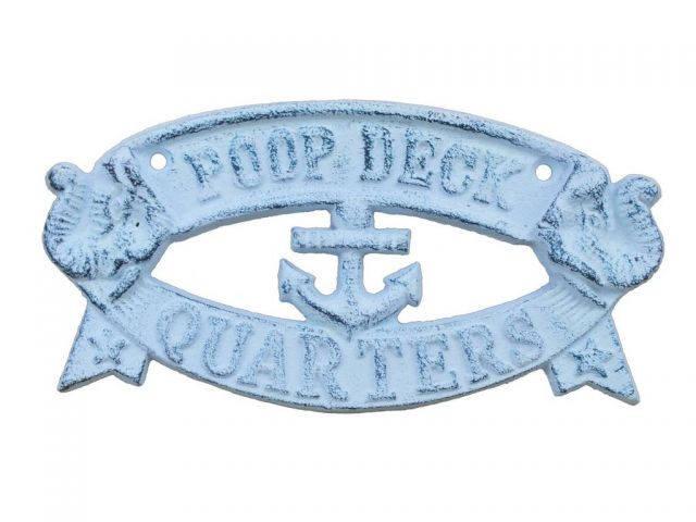 Whitewashed Dark Blue Cast Iron Poop Deck Quarters Sign 8