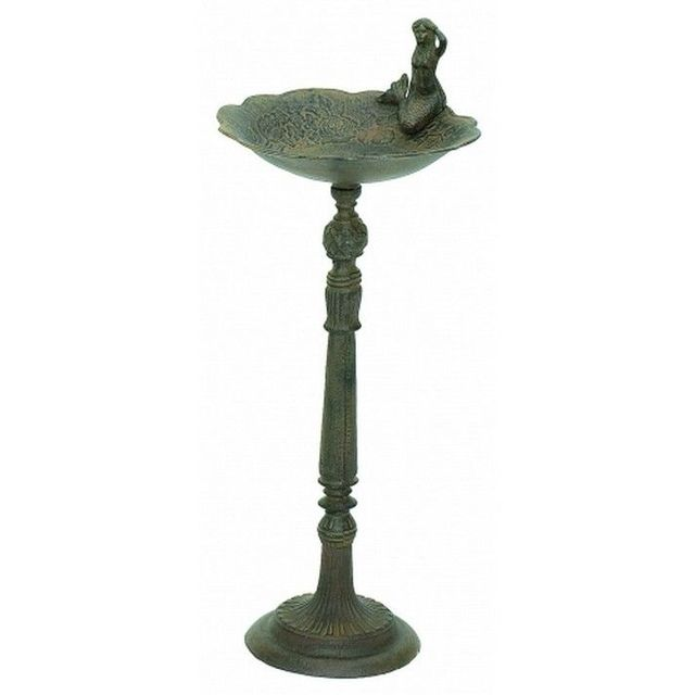Rustic Cast Iron Mermaid Bird Bath 26