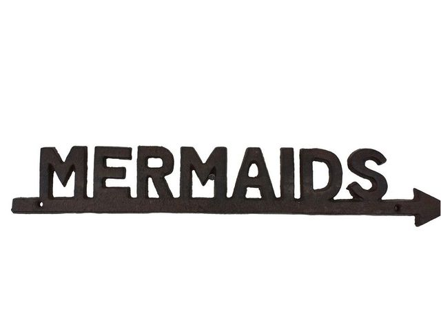 Rustic Cast Iron Mermaids Sign 19