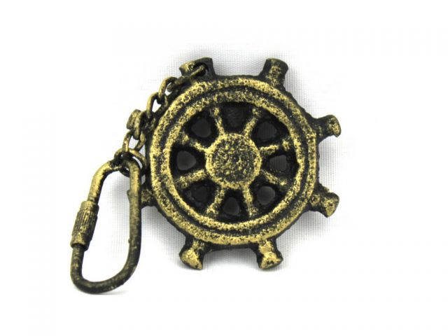 Antique Gold Cast Iron Ship Wheel Key Chain 5