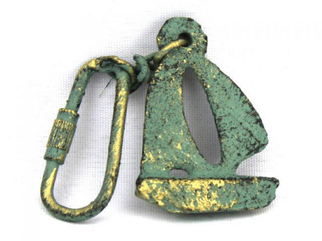 Antique Bronze Cast Iron Sailboat Key Chain 5