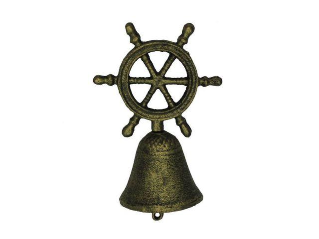 Rustic Gold Cast Iron Ship Wheel Hand Bell 6