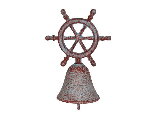 Rustic Red Whitewashed Cast Iron Ship Wheel Hand Bell 7