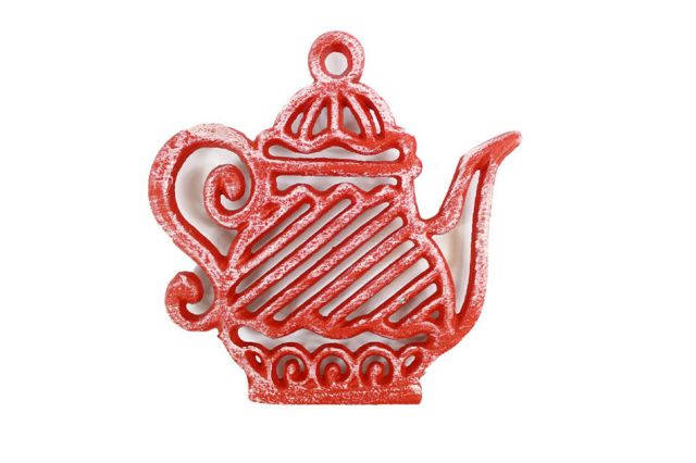 Rustic Red Cast Iron Teapot Trivet 9