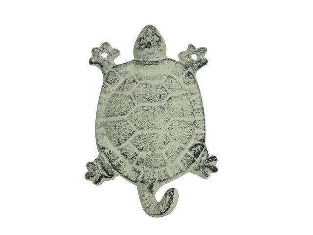 Whitewashed Cast Iron Turtle Key Hook 6
