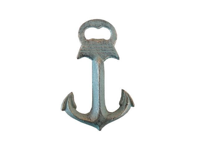 Antique Seaworn Bronze Deluxe Cast Iron Anchor Bottle Opener 6