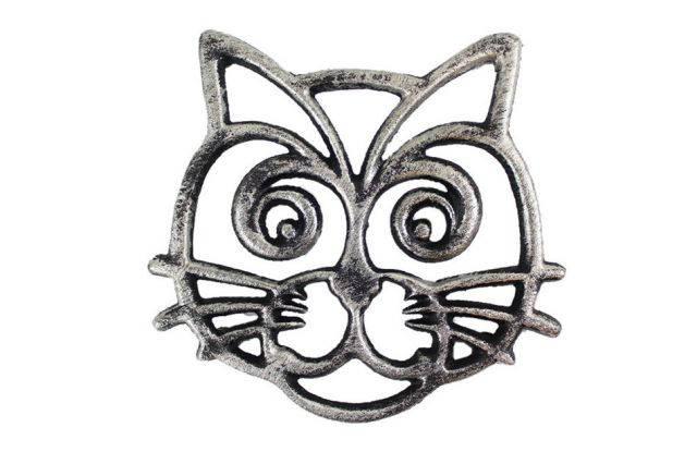 Rustic Silver Cast Iron Cat Trivet 7