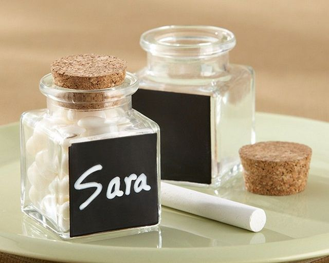 Set of 12 - Glass and Cork Chalkboard Jars 3