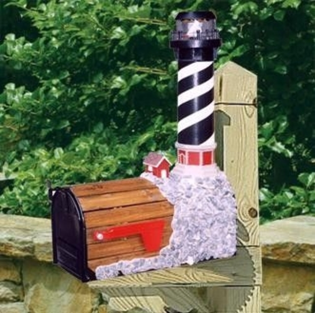 Cape Hatteras Solar Powered Wooden Lighthouse Mailbox 36