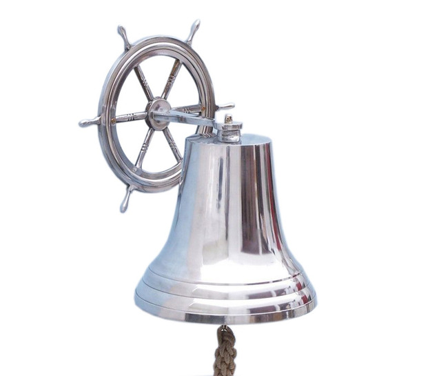 Chrome Hanging Ship Wheel Bell 18