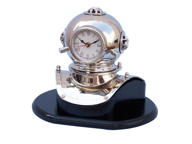 Chrome Decorative Divers Helmet Clock on Black Rosewood Base 12