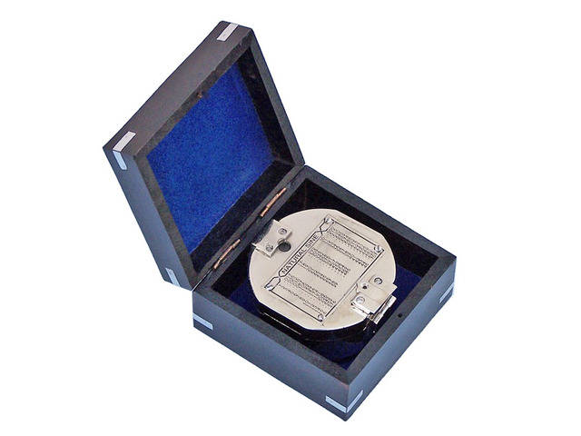 Chrome Brunton Pocket Transit Compass with Black Rosewood Box 4