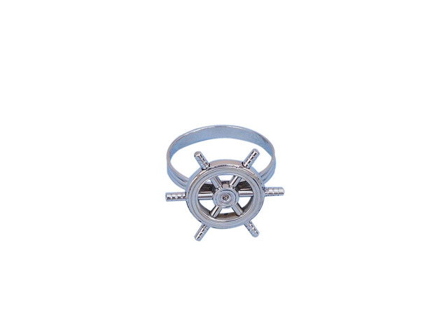 Chrome Ship Wheel Napkin Ring 2