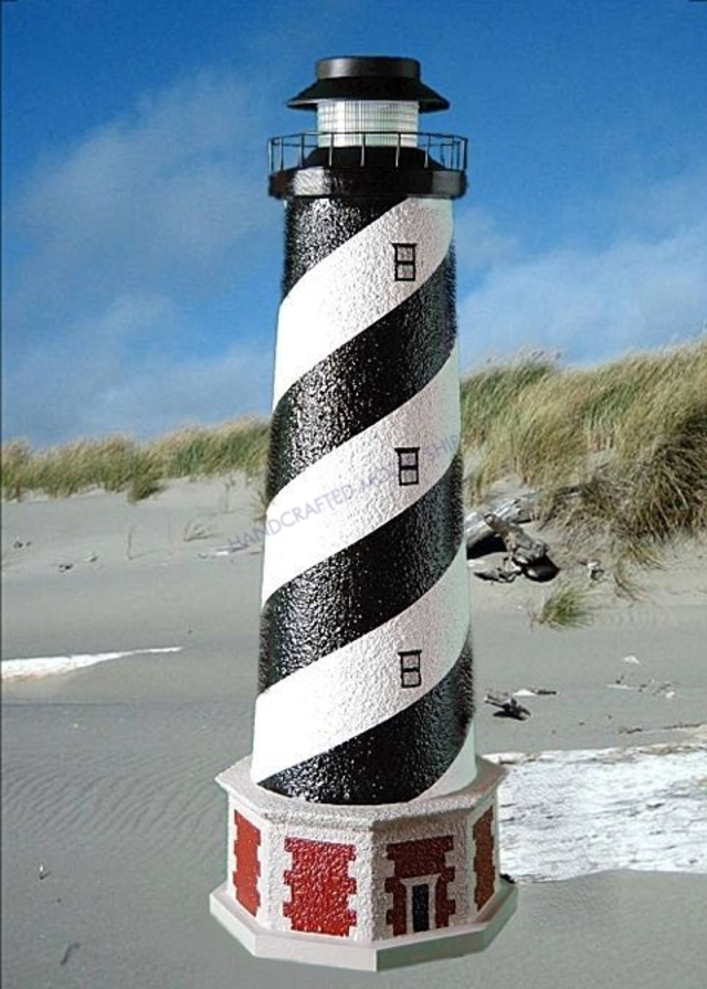 Cape Hatteras Stucco Low-Voltage Landscape Lighthouse w-Base 28