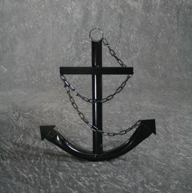 Steel Navy Boat Anchor with Chain 24 - Black