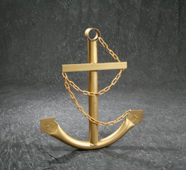 Steel Navy Boat Anchor with Chain 24 - Gold