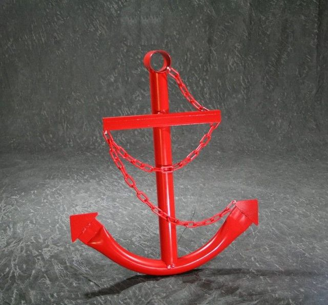 Steel Navy Boat Anchor with Chain 36 - Red