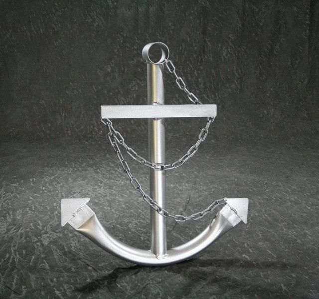 Steel Navy Boat Anchor with Chain 36 - Silver