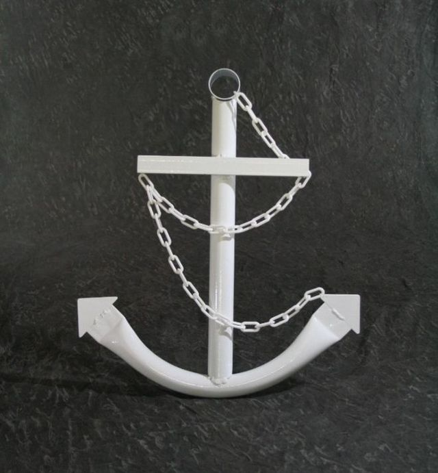 Steel Navy Boat Anchor with Chain 24 - White