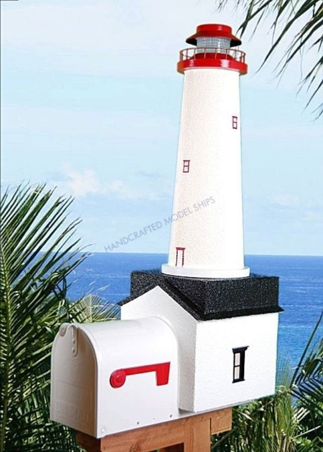 Cape May Solar Powered Stucco Lighthouse Mailbox 36
