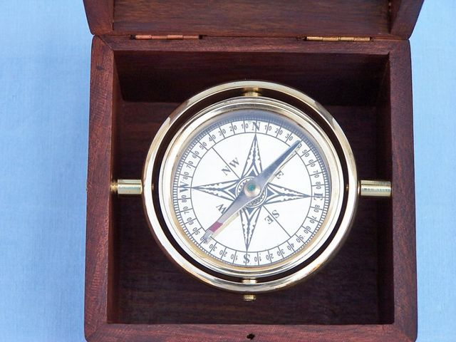 Solid Brass Lifeboat Compass w- Rosewood Box 7