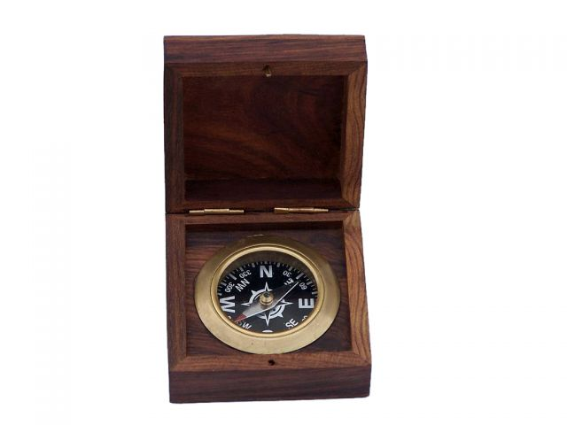 Antique Brass Black Desk Compass with Rosewood Box 3