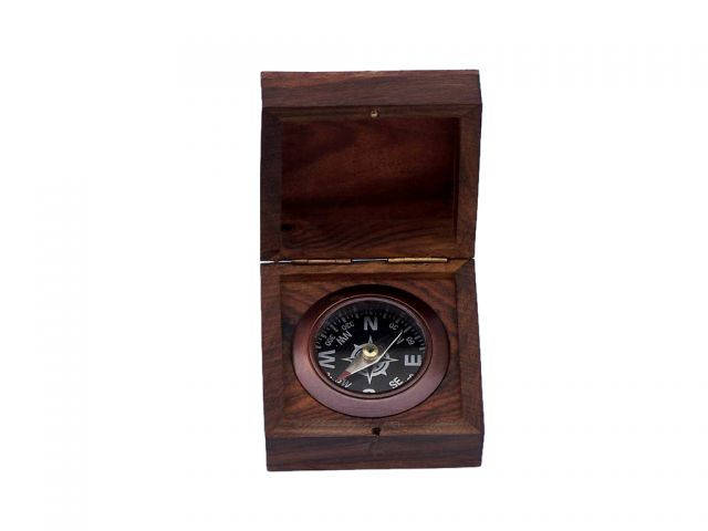 Antique Copper Black Desk Compass with Rosewood Box 3