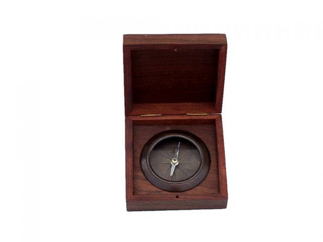 Antique Copper Captains Desk Compass with Rosewood Box 4