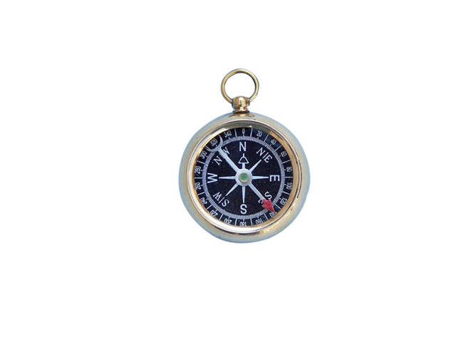 Solid Brass Beveled Black Faced Compass 2