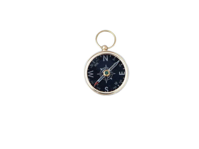 Solid Brass Scouts Black Faced Compass 2