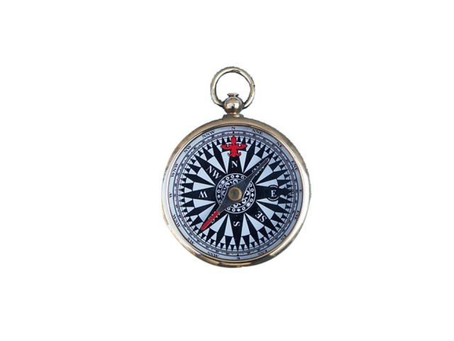 Solid Brass Black-White Compass 2