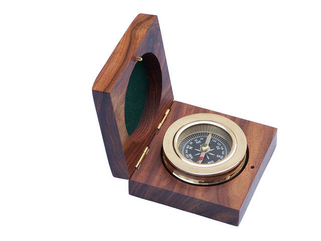 Brass Paperweight Compass w- Rosewood Box 3