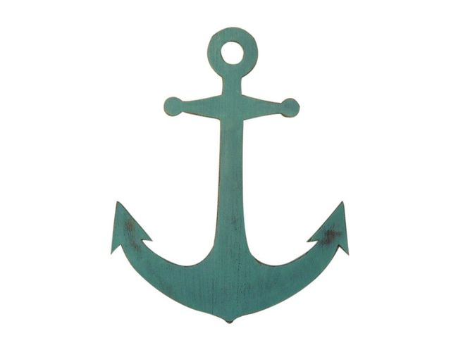 Wooden Rustic Coastal Blue Wall Mounted Anchor Decoration 30