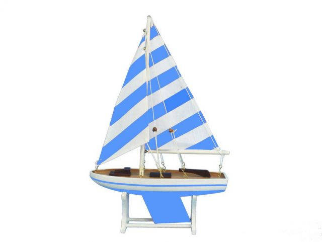 Wooden It Floats Blue Prince Model Sailboat 12