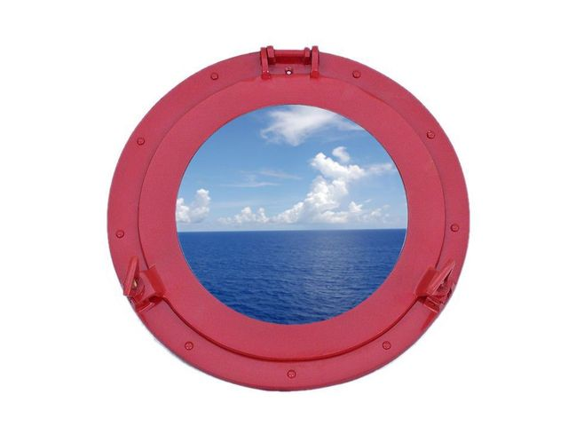 Brass Decorative Ship Porthole Window 15 - Dark Red