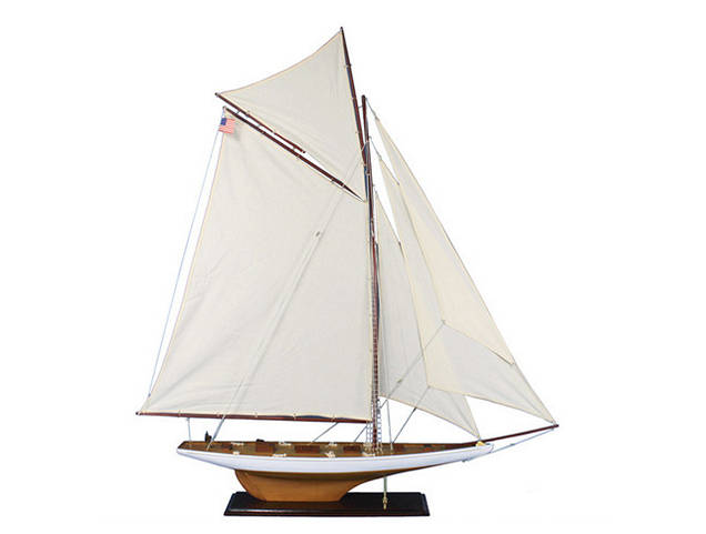 Wooden Columbia Model Sailboat Decoration 60