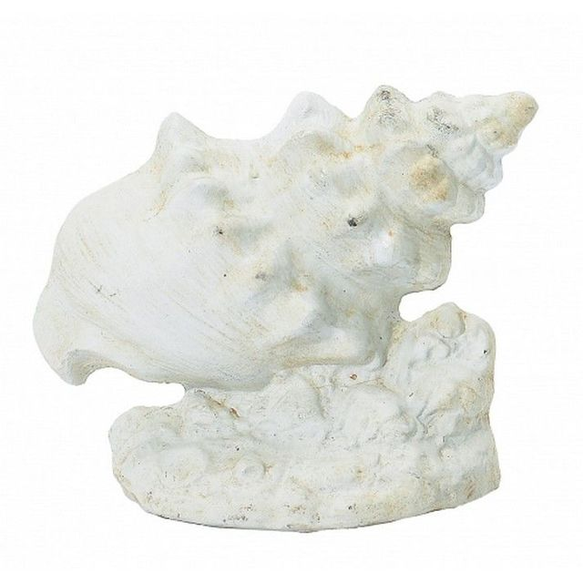 Whitewashed Cast Iron Conch Shell Door Stop 9