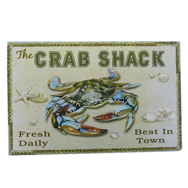 Wooden Crab Shack Beach Sign 16