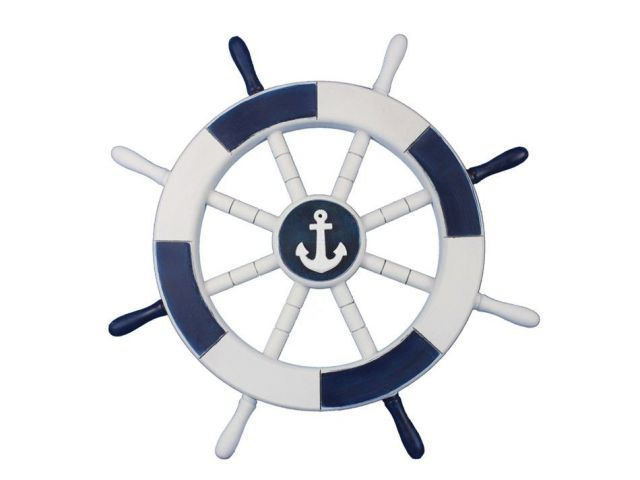 Dark Blue and White Decorative Ship Wheel with Anchor 18