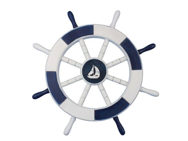 Dark Blue and White Decorative Ship Wheel with Sailboat 18