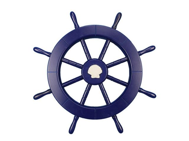 Dark Blue Decorative Ship Wheel with Seashell 18