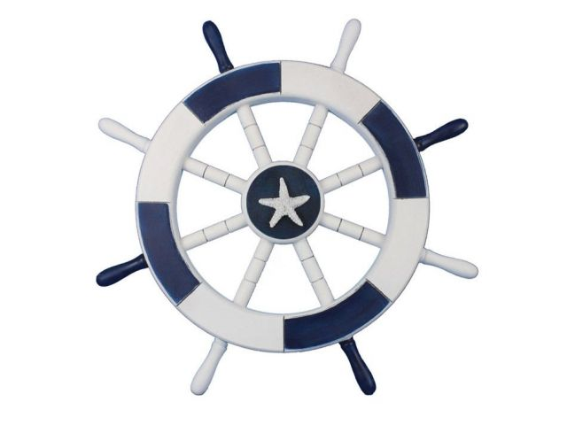 Dark Blue and White Decorative Ship Wheel with Starfish 18
