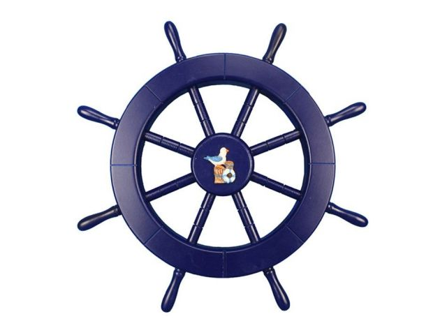 Dark Blue Decorative Ship Wheel with Seagull and Lifering 18
