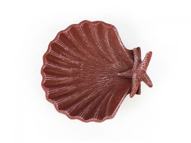 Red Whitewashed Cast Iron Shell With Starfish Decorative Bowl 6