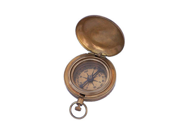 Antique Brass Scouts Push Button Compass 2