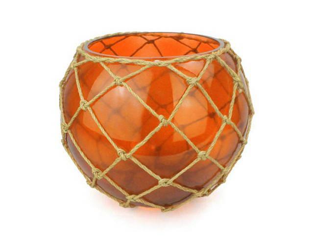 Orange Japanese Glass Fishing Float Bowl with Decorative Brown Fish Netting 10