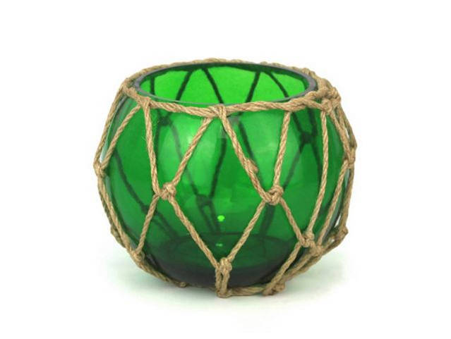 Green Japanese Glass Fishing Float Bowl with Decorative Brown Fish Netting 6