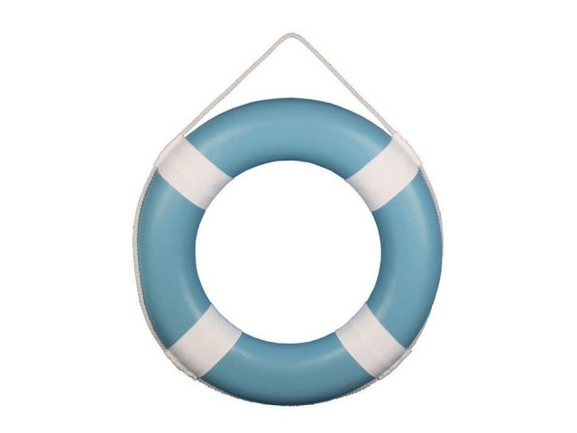 Light Blue Painted Decorative Lifering with White Bands 20