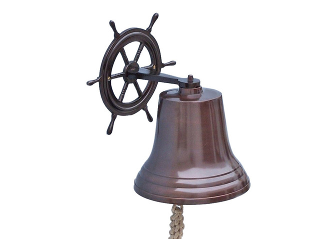 Antique Copper Hanging Ship Wheel Bell 14