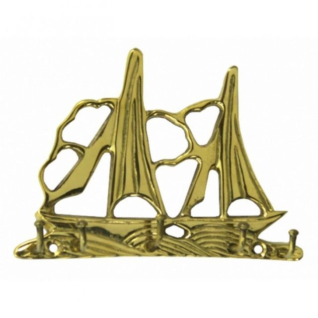 Solid Brass Dual Sailboat Key Rack 5